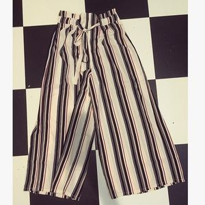 NWT Striped Culottes Wide Leg Pant